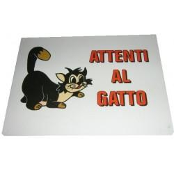Cartello Attenti al Gatto in plastica con fori cod. B509/C