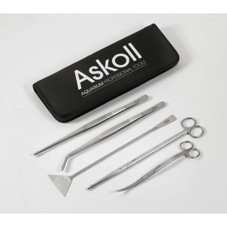 Askoll kit di accessori forbici pinze spatola per la cura dell'acquario
