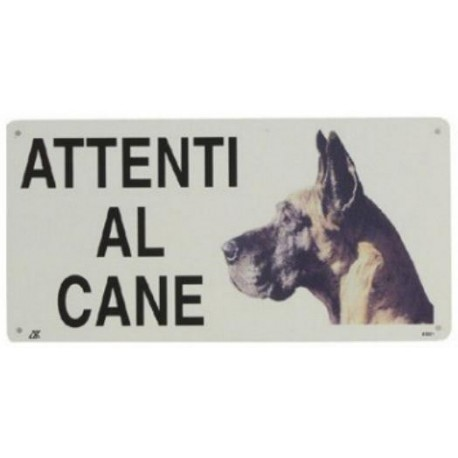 Cartello Attenti al Cane Alano in metallo
