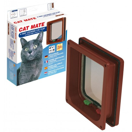 Cat Mate 235 Marrone 4 Funzioni Porta basculante Gattaiola per Gatto