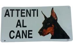 Cartello Attenti al Cane Dobermann in metallo