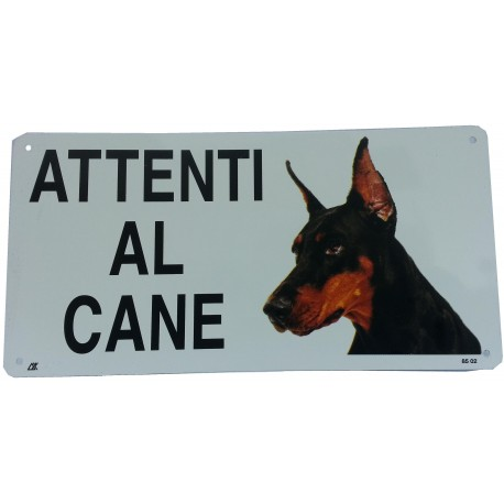 Cartello Attenti al Cane Dobermann in metallo