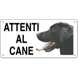 Cartello Attenti al Cane Labrador in metallo